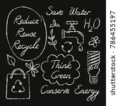 set of hand drawn ecology icons ...   Shutterstock . vector #786455197