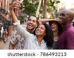 group of friends posing for... | Shutterstock . vector #786493213