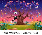 happy tree in the countryside... | Shutterstock .eps vector #786497863