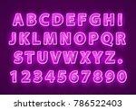 font neon purple symbol  light... | Shutterstock .eps vector #786522403