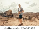 man traveling with backpack... | Shutterstock . vector #786545593