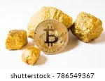bitkoi coin. and gold nuggets.... | Shutterstock . vector #786549367