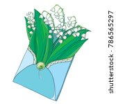 vector bouquet with outline... | Shutterstock .eps vector #786565297