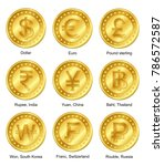 9 currencies gold coin with... | Shutterstock .eps vector #786572587