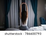 woman wake up in the night and... | Shutterstock . vector #786600793