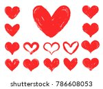 a set of hand drawn hearts.... | Shutterstock .eps vector #786608053