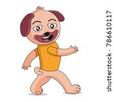 cheerful dog walks. material... | Shutterstock .eps vector #786610117