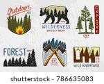 coniferous forest  mountains...   Shutterstock .eps vector #786635083