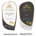 set of vector wine label for... | Shutterstock .eps vector #786637957