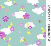 vector floral pattern in doodle ... | Shutterstock .eps vector #786643807