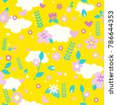vector floral pattern in doodle ... | Shutterstock .eps vector #786644353
