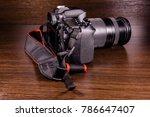 modern dslr camera on a dark... | Shutterstock . vector #786647407