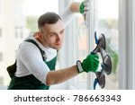replacing a glass unit.... | Shutterstock . vector #786663343