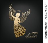 golden angel silhouette with... | Shutterstock .eps vector #786675847