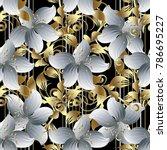 3d flowers vector seamless... | Shutterstock .eps vector #786695227