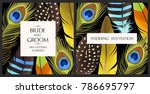 wedding invitation with feathers | Shutterstock .eps vector #786695797