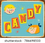 vintage metal sign   candy  ... | Shutterstock .eps vector #786698533