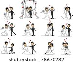 large set of wedding pictures | Shutterstock .eps vector #78670282