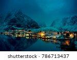 sunset time reine village ... | Shutterstock . vector #786713437