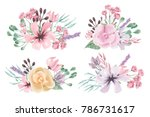 beautiful watercolor floral ...   Shutterstock . vector #786731617