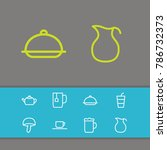 meal icons set with mushroom ...