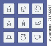 meal icons set with milk ...
