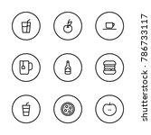 food icons set with pizza ...