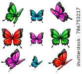beautiful color butterflies set ... | Shutterstock .eps vector #786753217