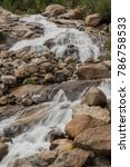 Small photo of Long Exposure of Alluvial Falls in Rocky Mountains in summer