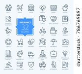 Insurance - outline icon set, vector, simple thin line icons collection | Shutterstock vector #786769897