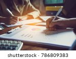 business team working with... | Shutterstock . vector #786809383