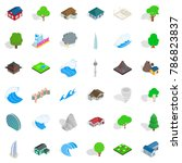 miami house icons set.... | Shutterstock .eps vector #786823837