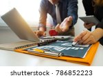 business team meeting present...   Shutterstock . vector #786852223
