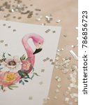 exotic flowers and flamingo... | Shutterstock . vector #786856723
