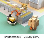 robotic arm picking parcel from ... | Shutterstock . vector #786891397