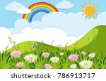 background scene with flowers... | Shutterstock .eps vector #786913717
