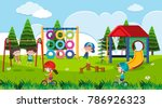 playground scene with happy... | Shutterstock .eps vector #786926323