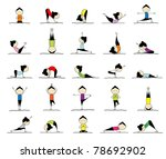 woman practicing yoga  25 poses ...