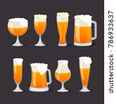 beer mugs with foam set in... | Shutterstock .eps vector #786933637