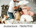 couple during pillow fight... | Shutterstock . vector #786967933