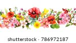 Stock photo meadow flowers wild grasses leaves repeating summer horizontal border floral watercolor 786972187
