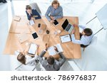 business team working while... | Shutterstock . vector #786976837
