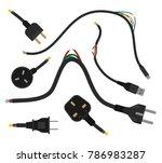 torn wires with plugs. broken... | Shutterstock .eps vector #786983287
