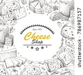 vector background with cheese... | Shutterstock .eps vector #786987157
