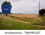 road sign indicating the border ... | Shutterstock . vector #786990187