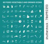 80 vector food  vegetable and...