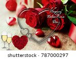 romantic red hearts and roses... | Shutterstock . vector #787000297