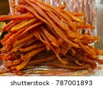 sun dried meat pieces  put on... | Shutterstock . vector #787001893