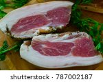 delicious smoked meat cooked in ... | Shutterstock . vector #787002187