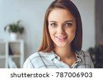 portrait of smiling caucasian... | Shutterstock . vector #787006903